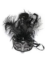 Маска венецианская с перьями черная (25х16х5 см)