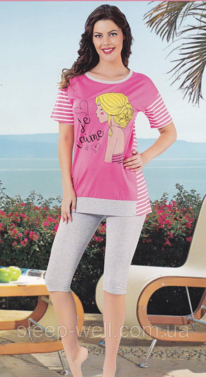Піжама жіноча з бриджами рожева