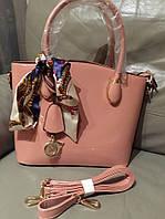 Стильная женская сумка DIOR в комплекте с длинным ремешком, брелок и платок в комплекте