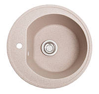 Круглая Гранитная кухонная мойка розовая