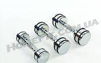 Гантели хром от 1 кг до 9 кг монолитные (для фитнеса и аэробики), фото 1