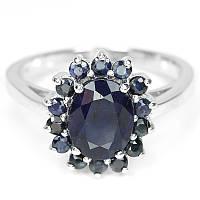 Серебряное кольцо с сапфиром 17,5 р