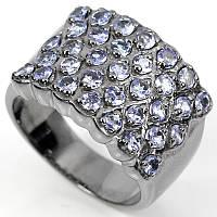 Серебряное кольцо с танзанитами покрытие черный родий 18 р
