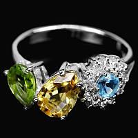 Серебряное кольцо с цитрином, топазом, хризолитом 15,5 р