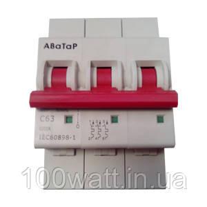 Автоматический выключатель 3п 63А АВаТар ST17