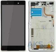 Дисплей (экраны) для телефона Sony Xperia Z2 D6502, Xperia Z2 D6503 + Touchscreen with frame Original White