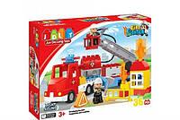 Конструктор JDLT Пожарная станция: 36 крупных деталей, свет, звук