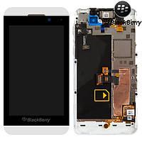 Дисплей + touchscreen (сенсор) Blackberry Z10, с передней панелью, с рамкой, белый