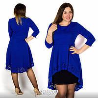 Платье женское с ассиметричной перфорированой баской