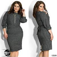 Женское платье черного цвета в белый горошек. Модель 12926.  Размеры 48-52.