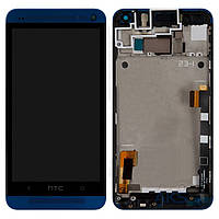 Дисплей (экран) для телефона HTC One M7 801e + Touchscreen with frame Original Blue