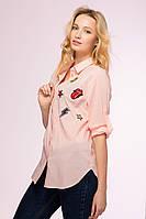Рубашка с аппликациями STICK розовая