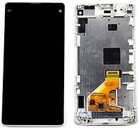 Дисплей (экран) для телефона Sony Xperia Z1 Compact D5503 + Touchscreen with frame Original White