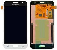 Дисплей (экран) для телефона Samsung Galaxy J1 (2016) J120H + Touchscreen White