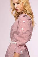 Платье-рубашка с застежкой на плече SHARP розовая