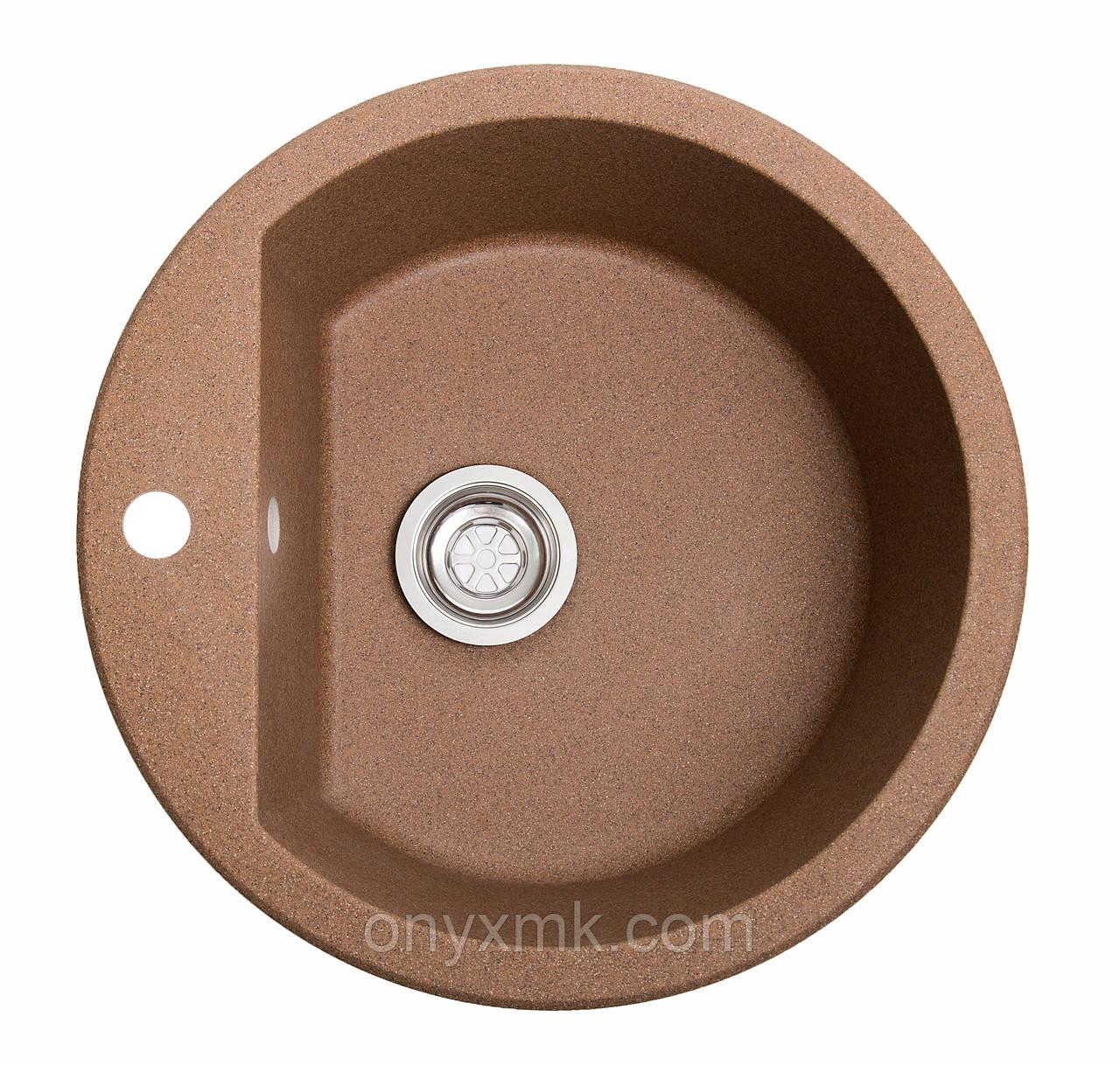 Круглая гранитная мойка с большой чашей коричневая
