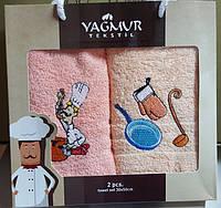 Набор махровых кухонных полотенец с вышивкой Поварята 30х50 см