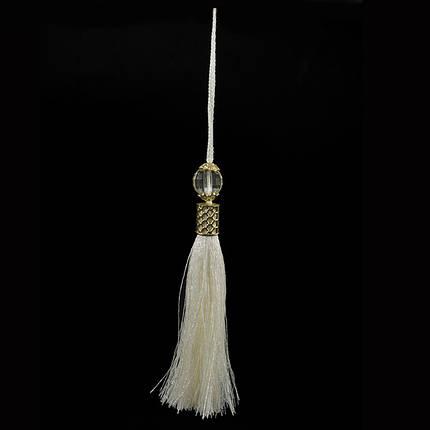 Кисточка подвеска из шелк нити эйвори+метал декор ,18 см, фото 2