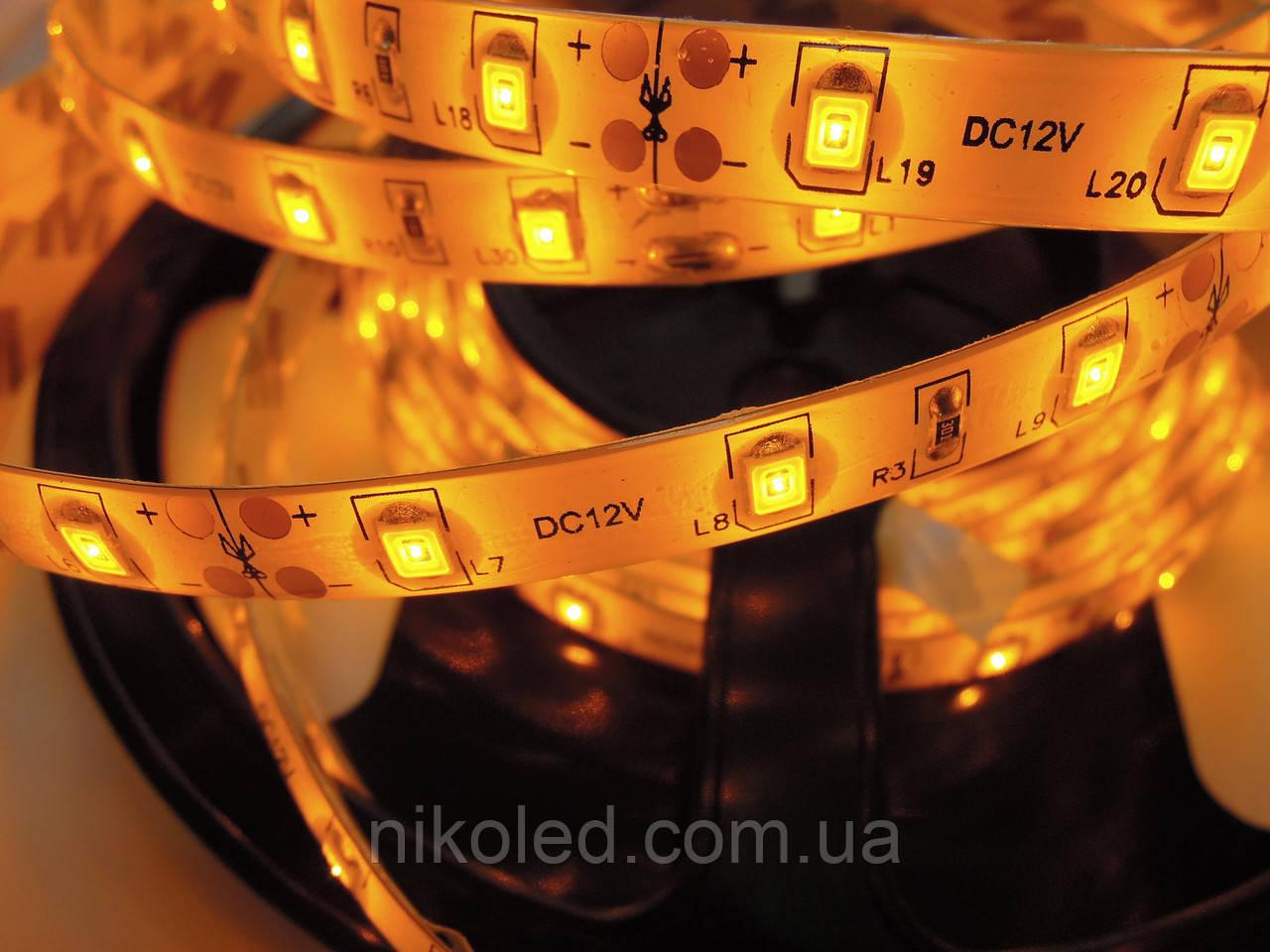 Світлодіодна стрічка стандарт 2835-60 5-6 Лм IP65 в силіконі Жовтий