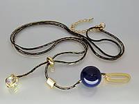 """Колье """"Джулия"""" с золотым покрытием, стразами и качественным шариком (синим)."""