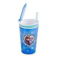 Стакан непроливайка-контейнер 2 в 1 с трубочкой Frozen Disney!