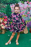Детское платье Моника цветочный принт  р.104-122