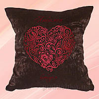 Подушка с вышивкой Украина Сердце Коричневая 40х40 см подушка+наволочка (односторонняя вышивка)