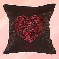 Подушка с вышивкой Украина Сердце Коричневая 40х40 см подушка+наволочка (двусторонняя вышивка)