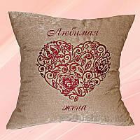 Подушка с вышивкой Украина Сердце Какао 40х40 см наволочка (односторонняя вышивка)