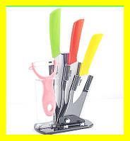 Керамические ножи на подставке 3шт.+овощечистка