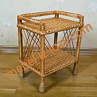 Плетеная этажерка из лозы на две полки прямая