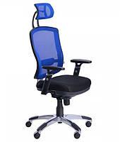 Кресло Коннект HR Алюм сиденье Сетка черная/спинка Сетка синяяный
