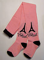 Колготки с рисунком детские розового цвета Париж