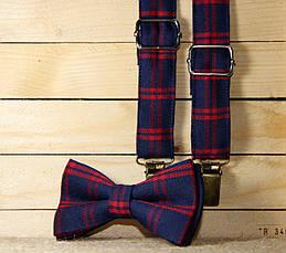 Набор I&M Craft галстук-бабочка и подтяжки для брюк в клеточку (030201) , фото 3