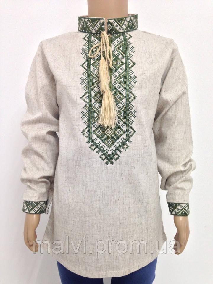"""Сорочка вишита з довгим рукавом для хлопчика Льон - Інтернет-магазин """"Мальви"""" в Луцке"""