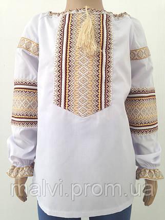 Вишита сорочка для дівчинки з коричнево-золотистим орнаметом та довгими  рукавами Батист 1a549d7a83089