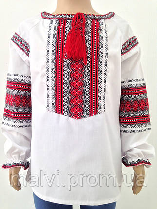 Вишита сорочка для дівчинки з довгими рукавами червона вишивка Батист d3bcb4acdaabb