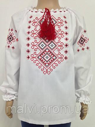 Вишиванка для дівчинки з червоною вишивкою довгий рукав Батист ... 2eebd59aa7498