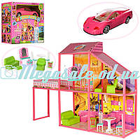 Дoмик для кукoл Барби с машиной Princess Custle: 4 комнаты+ веранда + мебель