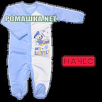 Человечек для новорожденного р. 80-86 с начесом ткань ФУТЕР 100% хлопок ТМ Алекс 3042 Голубой2 80