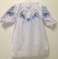 Плаття для хрещення дівчинки з блакитною вишивкою