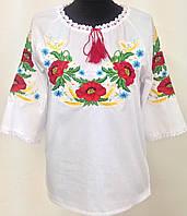 Жіноча вишита сорочка з трьохчетвертним рукавом