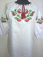 Жіноча вишита сорочка Калина з трьохчетвертним  рукавом