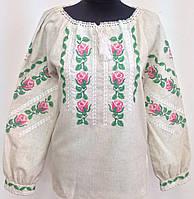 Вишиванка жіноча з трояндами льон