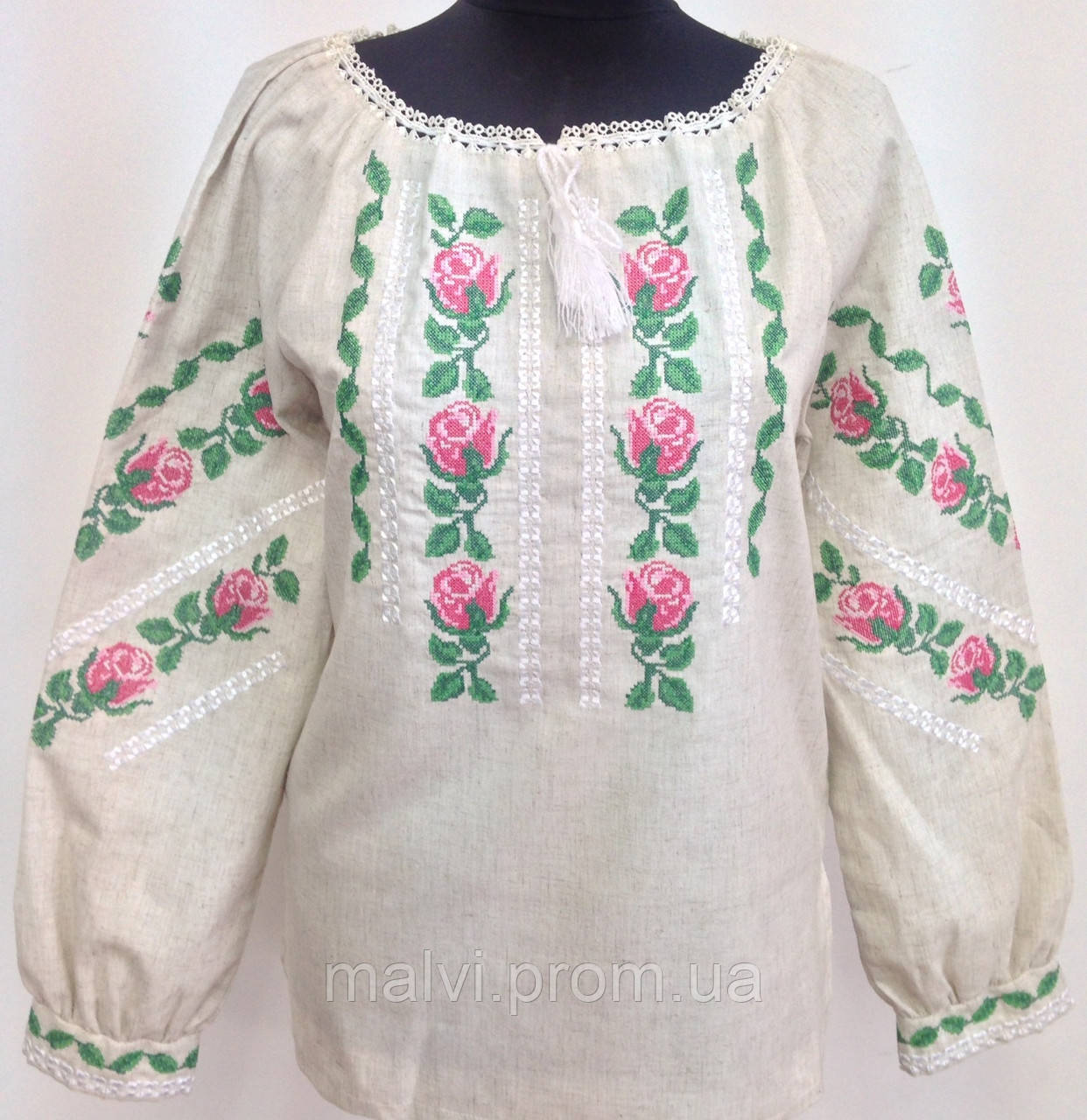 Вишиванка жіноча з трояндами льон - Інтернет-магазин
