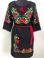 Вишите чорне жіноче плаття льон з маками