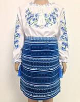 Вишитий костюм для дівчики з блакитною вишивкою