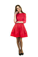 Красное платье с карманами П164