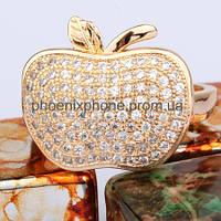 Шикарное кольцо в форме яблока, с фианитами, покрытое золотом(117690)