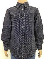 Блузка шкільна темно-синя в горошок для дівчинки